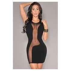 Moda Fiesta Sexy Mini Vestido Negro Con Transparencias - $ 399.00 en Mercado Libre