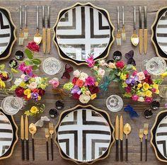 Black and white plateware