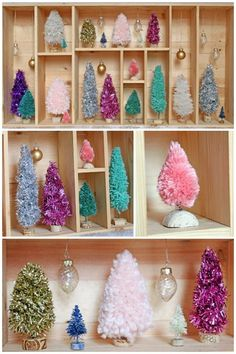Add some Christmas shine to your home's shelving by placing handmade bottle brush trees throughout empty spaces. All you need is yarn, twine, garland, and rope.