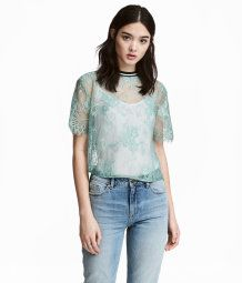 Lace Top   Pistachio green   Women   H&M US