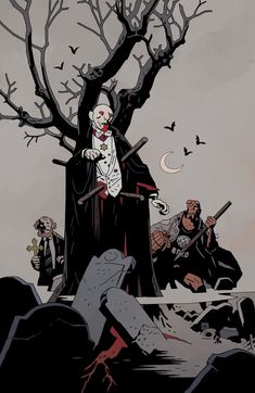 "Mike Mignola has decided to bring the Vampires out of hiding in BPRD:Hell on Earth. ""The vampire thing is interesting because I don't really know why I didn't deal with them as much as I did,"" he. Comic Book Artists, Comic Artist, Comic Books Art, Illustrations, Illustration Art, Vampires, Mike Mignola Art, Ligne Claire, Bd Comics"