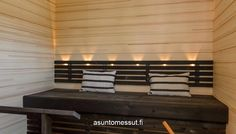 Talvipalatsi - Sauna | Asuntomessut Sauna Lights, Saunas, Outdoor Furniture, Outdoor Decor, Relax, Simple, Places, Spa, Bathroom