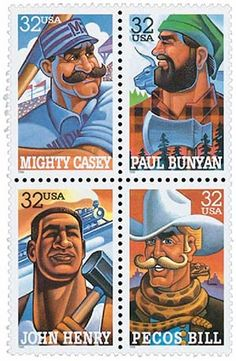 American Folk Heroes Mint Block of 4 Stamps United States, 1996 Rare Stamps, Old Stamps, Postage Stamp Design, Postage Stamps, Legends And Myths, Sports Baseball, Stamp Collecting, My Stamp, Mail Art