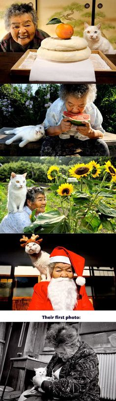 cute-Japanese-grandma-cat-friends-first-photo
