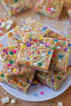 These funfetti birthday cake blondies are sweet, buttery and packed full of sprinkles. They're made from scratch and don't require any cake mix!