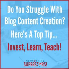 Do you struggle with creating content for your blog or any social platform for that matter? :(  If so heres a quick tip for you! ;)  If you are struggling to write a blog post I recommend simply taking 5 minutes to read a blog post on a specific topic relevant to your niche watch a video on youtube or refer to old notes from previous webinars.   Simply write out your biggest takeaways and craft a blog post around that.   So invest your time in learning something make sure to really absorb…