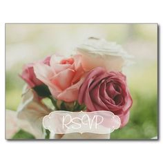 Rose Bouquet Wedding RSVP with Photo Postcard