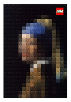 Italian artist Marco Sodano has created these pixilated art masterpieces of three classic paintings – Da Vinci's Mona Lisa and Lady with an Ermine as well as Johannes Vermeer's Girl with a Pearl – using LEGO bricks. Johannes Vermeer, Creative Advertising, Print Advertising, Advertising Campaign, Print Ads, Mosaico Lego, Pixel Art, Kalender Design, Mona Lisa