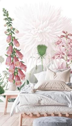 Take a look at these interior styling ideas to help you incorporate a touch of pink into your home! From girly bedrooms for your little one and even pink bedrooms for adults, to Cottagecore style living rooms that embrace floral patterns, you can style this Foxglove Flowers Wallpaper in any room in your home. If you love pink, shop the look at Wallsauce.com! #pinkwallpaper #pink Calm Bedroom, Next Bedroom, Bedroom Decor, Bedroom Wallpaper, Wall Wallpaper, Bedroom Design Inspiration, Interior Shop, Rustic Frames, White Bedding