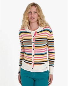 Joules ELSIE Womens super-soft Cardigan, Multi. Just the thing to bring a little cheer to a grey day, this cardigan comes in a selection of patterns that will have you shining all day long.