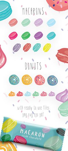 The #Macarons & Donuts #Vector Pack are created from 100% vector shapes (resizable).