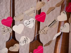 Love Notes Garland - 3 yards - Vintage sheet music & red card stock hearts - Ready to ship