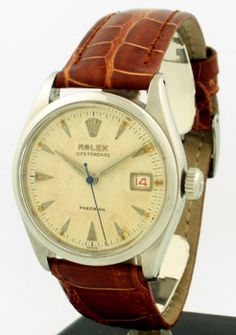 1954 Vintage Rolex Oyster Date Precision Ref. 6294 Stainless Steel watch with Original Waffle Textured Dial and Alternating 'Roulette' Black and Red Date