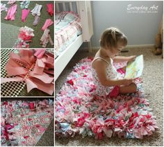 Handmade Rag Rug.  Fabric strips cut and ready in bags means we can start creating this right away when they visit!