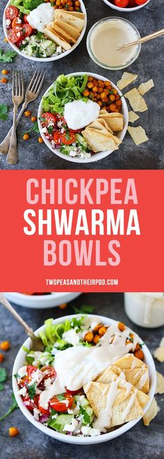 Chickpea Shawarma Bowls-Middle-Eastern inspired bowls are great for easy dinners and can be meal prepped in advance for simple grab and go lunches! Vegetarian Dinners, Vegetarian Recipes, Healthy Recipes, Eid Food, Chickpea Recipes, Easy Dinners, Indian Food Recipes, Healthy Eating, Clean Eating