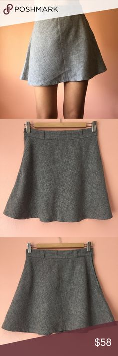 Vintage High Waist Gray Mini Skirt Don't be tardy in this vintage lightweight wool skirt. Features a high waist, belt loops, side zip, a line silhouette, mini length. Wear with a white blouse and thigh high boots. Fits like an XS/S. No returns allowed. Please ask all questions before buying. IG: [at] jacqueline.pak #vintage Vintage Skirts Mini