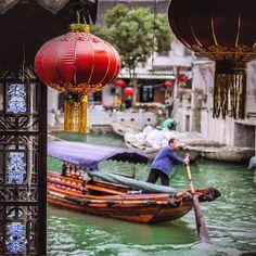 The beautiful ancient water town of Zhouzhuang #China
