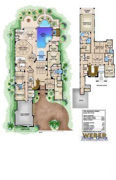 Mediterranean Floor Plan - Ravenna House - 5 bed, 5 full bath, 2 half bath, 3 car, 7035 sq ft