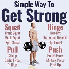 SIMPLEST WAY TO GET STRONG - If you want to get strong heres the winning formula: - Low variety of exercises. Dont use all these different exercises to confuse your muscles. Stick with a few big compound exercises for each movement: squat hinge pull Muscle Fitness, Gain Muscle, Fitness Tips, Fitness Motivation, Muscle Food, Health Fitness, Fitness Gear, Weight Training Workouts, Gym Workouts