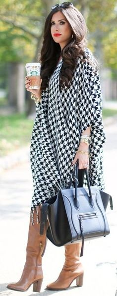Houndstooth Poncho                                                                             Source