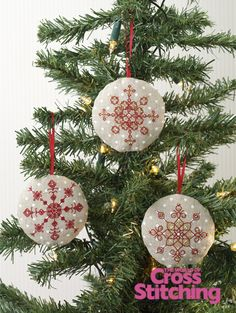Cross stitch ornaments - blackwork baubles by The World of Cross Stitching, via Flickr