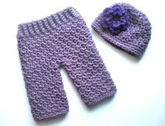 PATTERN  Baby Girl Longies and Flower Hat Set Easy by swellamy, $4.99