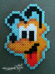 Pluto / hama perler beads / Bügelperlen - substitute chart for cross stitch Easy Perler Bead Patterns, Pearler Bead Patterns, Diy Perler Beads, Perler Bead Art, Pearler Beads, Fuse Beads, Perler Bead Disney, Pearl Beads Pattern, Art Perle