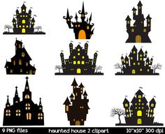 Haunted House Silhouette Clipart  Haunted Mansion by SorbetBox