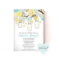 Mason Jar Baby Shower Invitation  Spring Summer by AfterFebruary