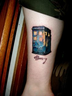 "allons-y watercolor TARDIS tattoo. Love this idea but would rather have a realistic tardis. For Matt since he loves to say ""allons-y"""