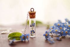 forgetmenot posy of flowers in clear vial, 925 sterling silver necklace by RubyRobinBoutique