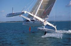 Extreme sailing and waterskiing. I Might try this... Ok, I've done sailing like this on a 25 ft Kat on a LAKE, keel out of water, SKEERED at the time!!!