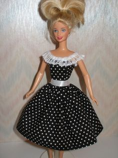 Handmade barbie dress  black and white polka by TheDesigningRose, $7.00