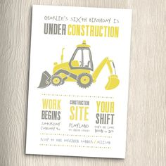 Construction Birthday Party Invitation with matching Thank You Cards Printable DIY by PaintByInvite on Etsy