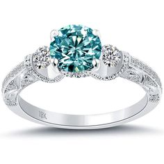 1.77 Carat Fancy Blue Diamond Engagement Ring 18k White Gold Vintage Style #LioriDiamonds #DiamondEngagementRing