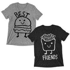 Best Friends Burger and Fries T-Shirts  Couples Shirt Tee BFF BFFL Tops Women
