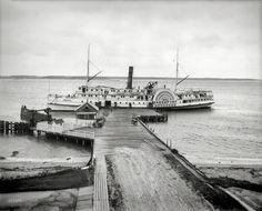 "Circa 1910. ""Steamer Greenport at Manhanset House landing, Shelter Island, N.Y."""