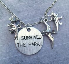 I Survived The Park Necklace - Fandom Necklace - Dinosaurs Jewelry - Jurassic Time Jewelry