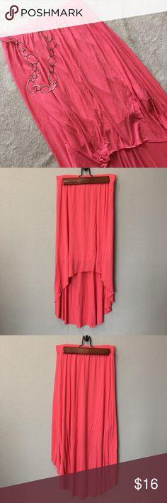 Lauren Conrad high Low Coral Maxi Skirt Soft, flowy, comfortable maxi skirt. Slip underneath. LC Lauren Conrad Skirts Maxi