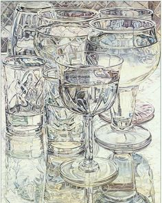 Wine and Cheese Glasses by Janet Fish,  Realism painter.