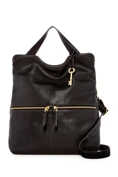 """Fossil Erin Leather Shoulder Bag $114.97 $228.00 50% Off Style #ZB5462 Color BLACK - Dual top handles with detachable, adjustable shoulder strap - Magnetic top closure - Exterior features dual front zip pockets & back zip compartment pocket w/ 3 credit card slots, pen slot & slip wall pocket - Interior features zip wall pocket & 2 media pockets - Dust bag included - Approx. 14.5"""" H x 13.5"""" W x 1.5"""" D - Approx. 5"""" handle drop, 14-22"""" strap drop - Imported"""