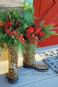 Home is Where the Boat Is blog - leopard boot christmas decoration!