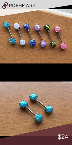 14g Fire Opal Pronged Nipple Rings Bars Gorgeous selection of colors, set of fire Opal nipple bars (2pc). 14g, 316L surgical steel. NWOT Jewelry
