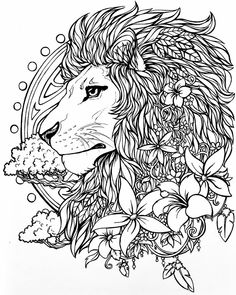 Color Series: by Lion Coloring Pages, Printable Adult Coloring Pages, Flower Coloring Pages, Coloring Pages To Print, Coloring Books, Lion Flower, Lion Sketch, Diy Y Manualidades, You Draw