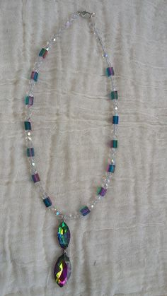 Crystal Pendant, Crystal Beads, Glass Beads, Crystals, Mystic Topaz, Necklace Ideas, Wearable Art, Handcrafted Jewelry, Beaded Necklace