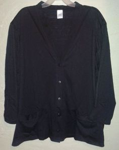 JMS Just My Size Black Cardigan Lightweight Plus Size Woman 6x 5x 32/34/36 #JMS #Cardigan #PlusSize