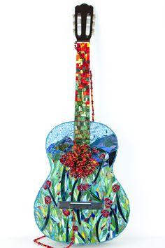"""Field of Poppies Guitar"" www.mosaiclove.net Beverly Thomas Jenkins mosaic artist"