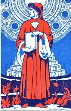 """dantereader: """"Ezio Anichini's postcard of Dante. """""""
