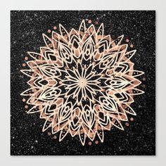 Metallic Mandala Canvas Print by beebeedeigner Mandala Canvas, Mandala Art, Black Marble Background, Canvas Prints, Art Prints, Metallic, Copper, Ceiling Lights, Stuff To Buy