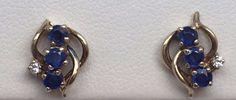 14K YELLOW GOLD BLUE SAPPHIRE & DIAMOND EARRINGS